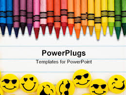 free powerpoint template displaying rainbow color crayons and