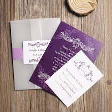 invitation paper affordable vintage purple vellum paper pocket wedding invitations