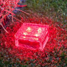 Large Solar Light by Large Solar Garden Path Light Glass Brick 4 Red Leds Lights4fun