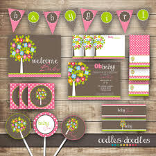 woodland baby shower pink and brown and green baby