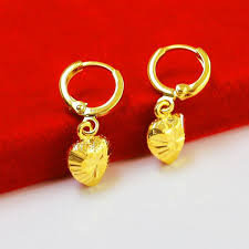 heart shaped earrings 2017 gold earrings models do not fade gilded gold heart