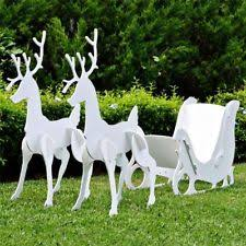 Outdoor Christmas Decorations At Costco by Large Santa In Sleigh With 2 Reindeer Chirstmas Decoration 35