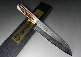 sakai takayuki 45 layer damascus antler handle santoku knife