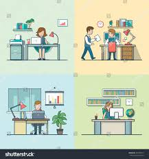 linear flat variations office rooms furniture stock vector