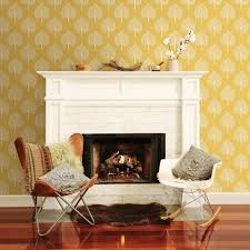 retro tree design wallpaper in mustard yellow and grey and white