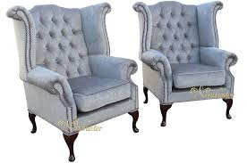 High Back Wing Armchairs Chesterfield Offer Pair Fabric Queen Anne High Back Wing Chairs