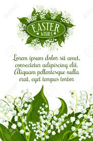 easter wishes greeting card white of the valley flowers