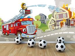 decoration chambre pompier avec le papier peint enfant à thème inspirez vos enfants