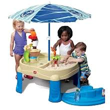 step 2 water table with umbrella step2 sail away adventure sand water table with umbrella step