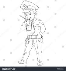 coloring page cartoon police officer policeman stock vector