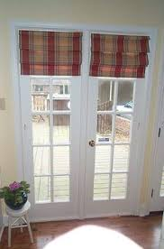 Where To Buy Roman Shades - roman shade on french door with stained glass french doors