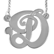 silver monogram necklace single initial silver monogram necklace in script font initial