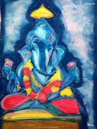 lord ganesha blue oil color painting