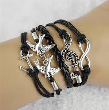 anchor bracelet charm images Handmade vintage bird anchor bracelets wrap leather bracelet charm jpg