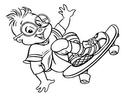 simon chipmunks skateboarding coloring pages gekimoe u2022 95957