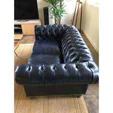Black Leather Chesterfield Sofa Blue Black Leather Chesterfield Sofa Chairish