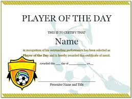 10 professional player of the day certificate templates for
