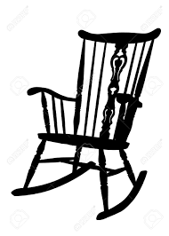 Vintage Rocking Chairs Vintage Rocking Chair Stencil Left Side Tilted Royalty Free
