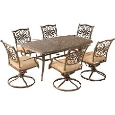 Patio Dining Set Swivel Chairs - traditions 7 piece dining set with six swivel dining chairs and a