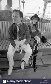 barbi benton and family hugh hefner and barbi benton in an airport shuttle bus 1970 stock