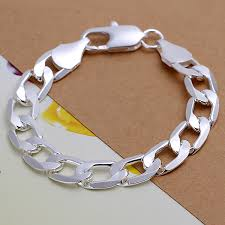 man silver bangle bracelet images New men 39 s fashion special chain solid silver plated bracelet jpg