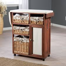 Full Size Ironing Board Cabinet Deluxe Wood Wicker Ironing Board Center With Baskets Hayneedle