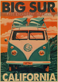 classic volkswagen car vw type mini bus poster bar cafe home decor