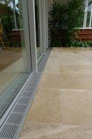 Drainage Patio Trench Drain Between Sliding Door And Concrete Slab 0 Filled With