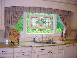 decorative stained glass tile backsplash kitchen ideas window frames with kitchen curtains plus stained glass above cabinet