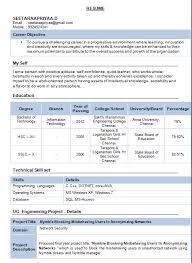 Resume Samples For Freshers by Resume Design For Freshers Resume Format For Job Great Examples