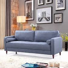 Dark Blue Loveseat Amazon Com Mid Century Modern Linen Fabric Living Room Sofa Dark