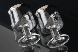 wine glasses silver rim glasses thick stems silver rimmed wine