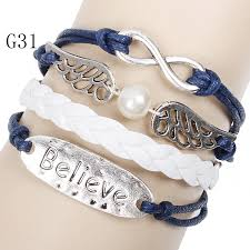 wrap bracelet with charms images Vintage charm wrap bracelet infinity winged pearl believe jpg