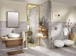 enthralling zen bathroom decor with natural stone and small mirror