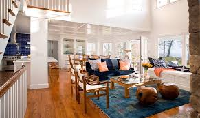 Beach Style Area Rugs High Ceiling Windows Living Room Beach Style With Window Seat Blue
