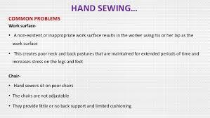 floor l with adjustable neck ergonomics study on garment finishing floor