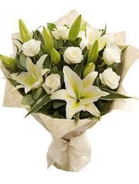 white lilies send white lilies roses bouquet to dubai free delivery