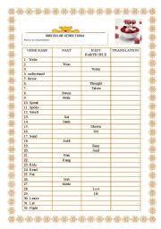 english exercises irregular verbs exam
