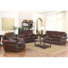 3pc Living Room Set Brayden 3 Piece Top Grain Leather Living Room Set