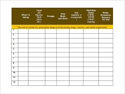 medication schedule template 12 free word excel pdf format