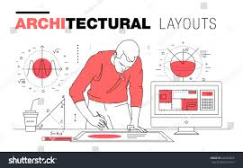 architectural layouts trendy polygonal line composition stock