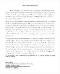 sample letter of recommendation for student 8 examples in pdf word