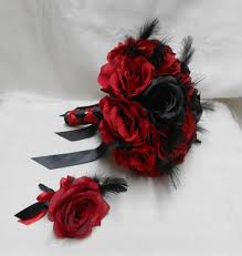 wedding bridal bouquet your colors 2 piece red black rose black