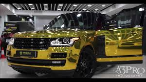 chrome range rover sport wrapstyle kuwait range rover gold chrome youtube