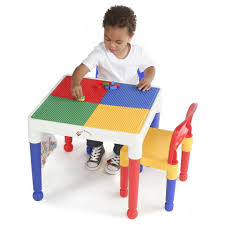 Learning Desk Tot Tutors 2 In 1 Plastic Building Block Compatible Activity Table