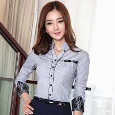 shirts and blouses clearance autumn patchwork lace sleeve slim work wear
