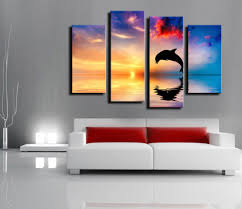 compare prices on dolphins surfing online shopping buy low price 4 pieces set dolphin surf with sunset picture modern home wall decor canvas print painting