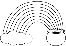 rainbow pot of gold and cloud coloring page nature