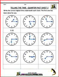 clock worksheets quarter past and quarter to
