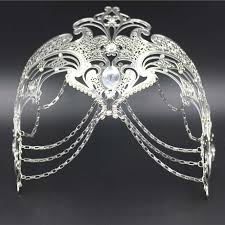 silver masks phantom filigree white black silver gold italy chain venetian